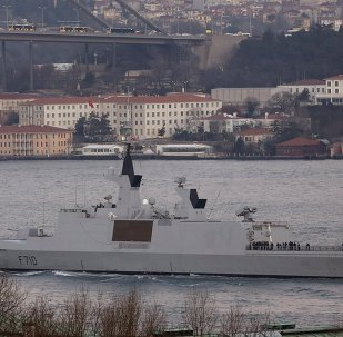 French Navy (Marine Nationale) frigate La Fayette sets sail in the Bosphorus, on its way to the Black Sea, in Istanbul March 24, 2015.