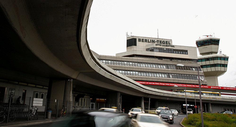 The main building and tower of Tegel Airport seen in Berlin, Germany