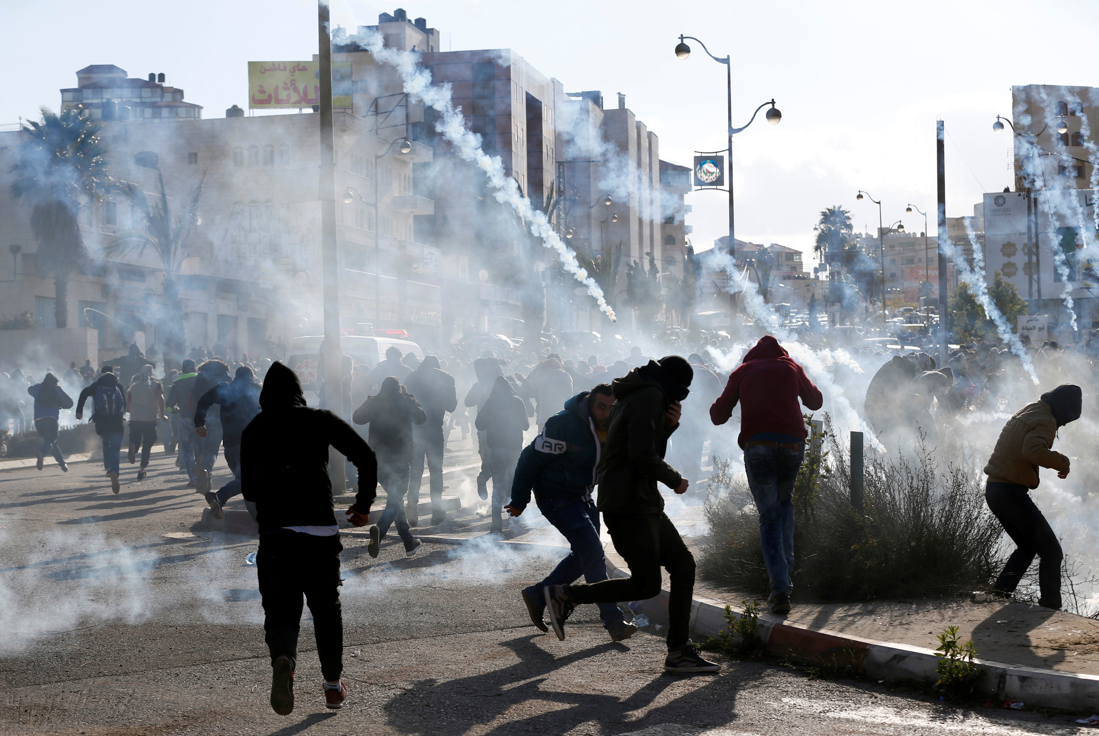 Ramallah'ta Yahudi yerleşimi yakınında Filistinli protestoculara İsrail askerleri sert müdahale etti