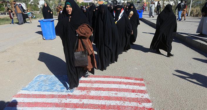 Necef'teki protestolarda Şii Iraklılar