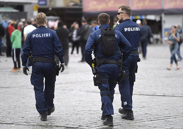 Police patrols at the Turku Market Square, in Turku, Finland August 19, 2017