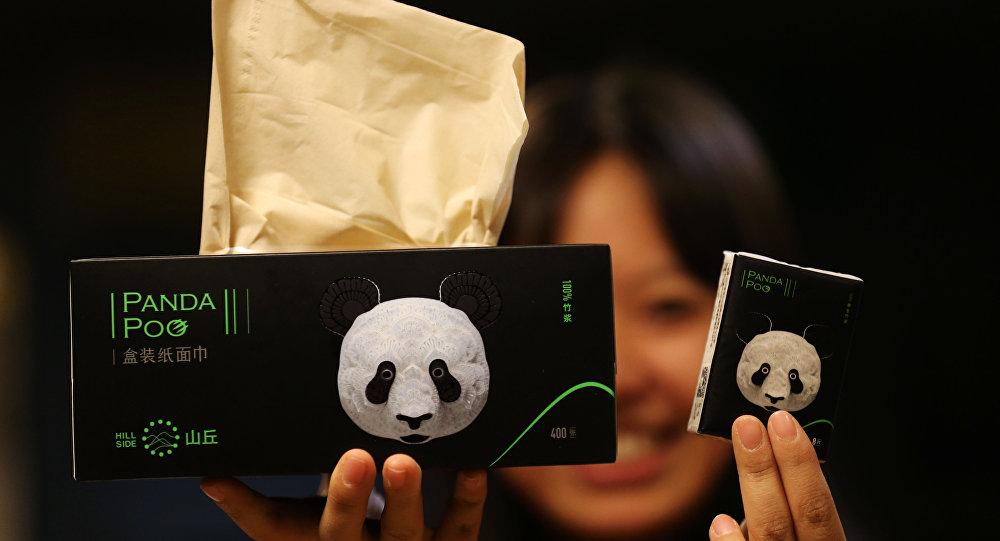 Panda dışkısından yapılan kağıt peçete