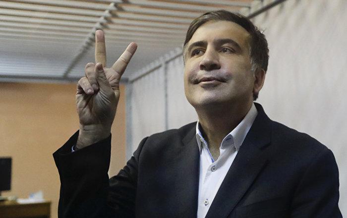 Saakaşvili, Ukrayna'da kendini fıskiyeye attı