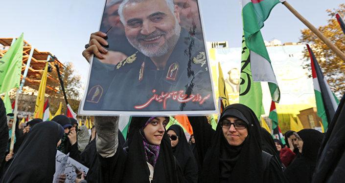 İran Tahran Trump Kudüs protesto Kasım Süleymani posteri