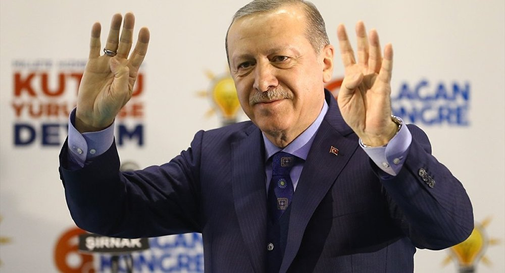 Мужчина попытался обнять Эрдогана вовремя его выступления