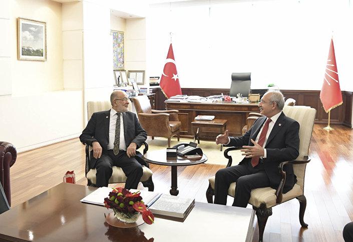 Saadet Partisi lideri Karamollaoğlu ile CHP Genel Başkanı Kemal Kılıçdaroğlu