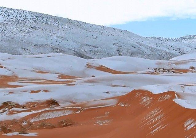 Bu yıl da beyaza bürünen Sahra Çölü'nden inanılmaz görüntüler