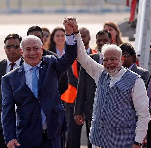 Netanyahu Modi Air Force Station Palam Yeni Delhi