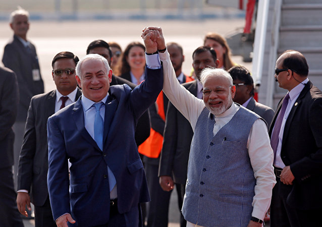 Netanyahu Modi Air Force Station Palam Yeni Delhi