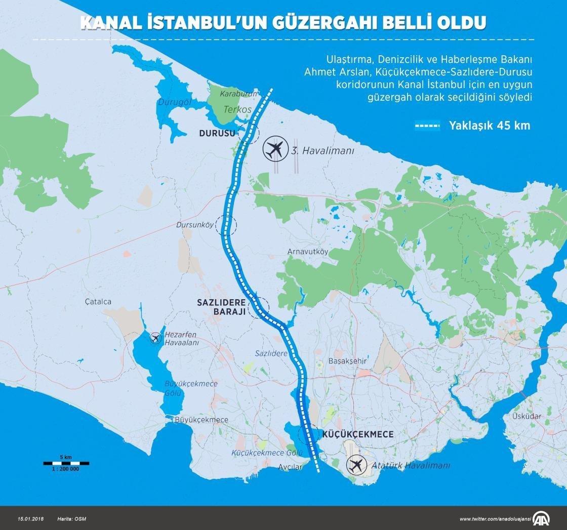 Kanal İstanbul'un güzergahı.
