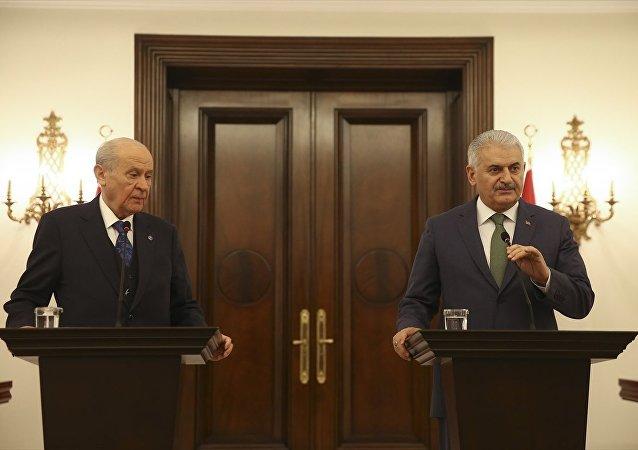 MHP Genel Başkanı Devlet Bahçeli ile Başbakan Binali Yıldırım