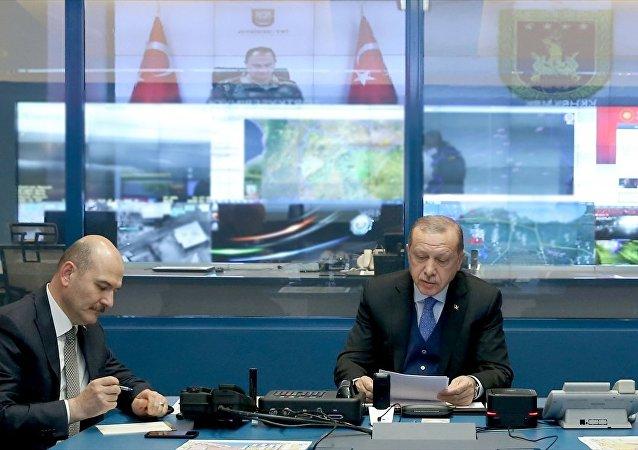 Cumhurbaşkanı Recep Tayyip Erdoğan ile İçişleri Bakanı Süleyman Soylu