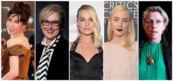 En iyi kadın oyuncu dalında Sally Hawkins, Meryl Streep, Margot Robbie, Saoirse Ronan ve Frances McDormand yarışacak.