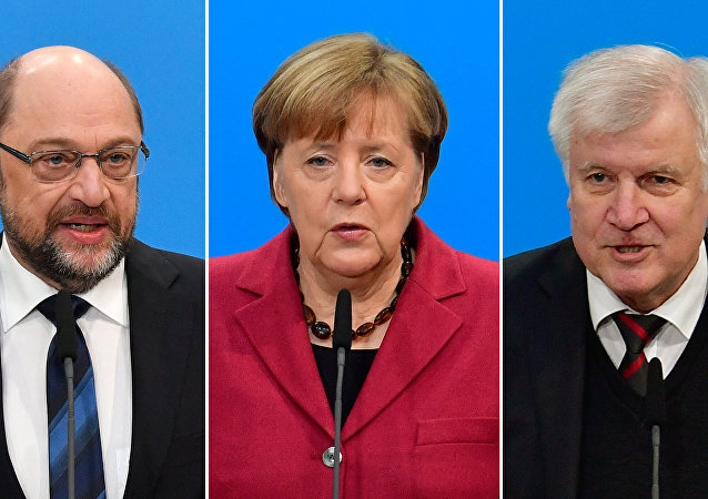 Martin Schulz, Angela Merkel, Horst Seehofer