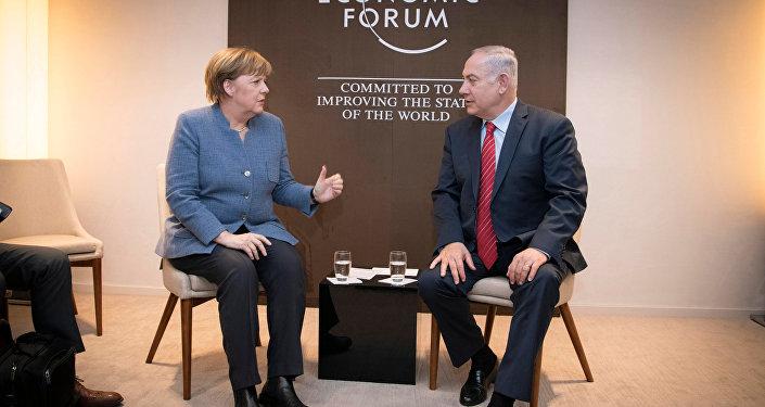 Merkel Netanyahu Davos