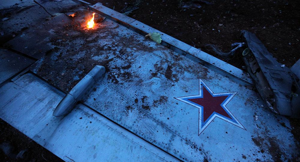 Suriye'nin İdlib bölgesinde cihatçılar tarafından düşürülen Su-25 tipi Rus savaş uçağı
