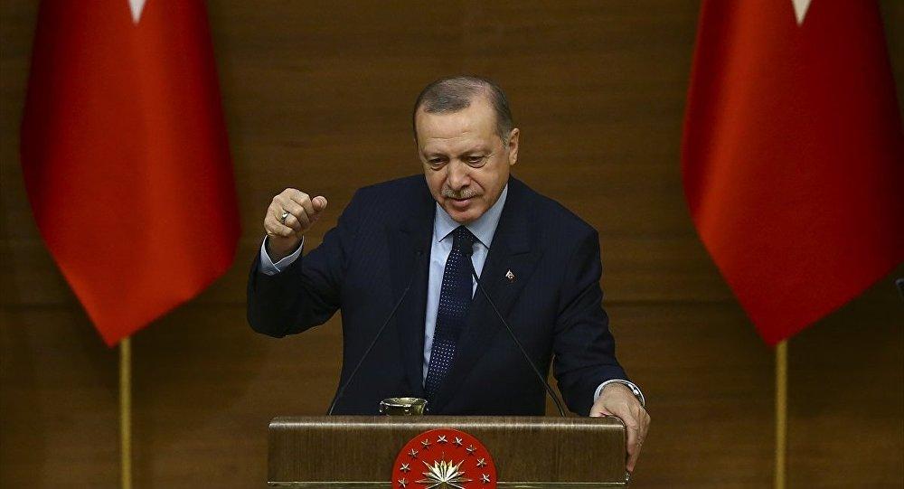 Cumhurbaşkanı Recep Tayyip Erdoğan, Cumhurbaşkanlığı Külliyesi'nde 45. Muhtarlar Toplantısı'na katıldı.