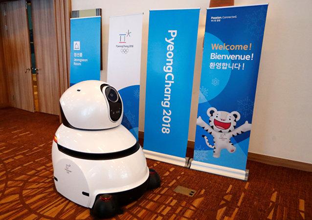 2018 Pyeongchang Kış Olimpiyatları'nda görev alan bir temizlik robotu