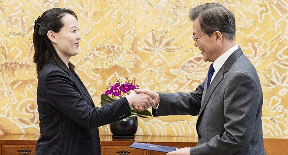 Güney Kore Devlet Başkanı Moon Jae-in Kuzey Kore liderinin kızkardeşi Kim Yo Jong Seul Mavi Saray
