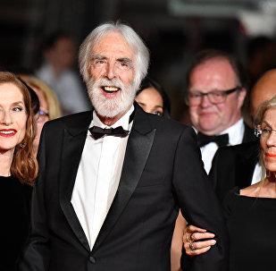 Isabelle Huppert, Michael Haneke, Susanne Haneke 22 Mayıs 2017 Cannes Film Festivali