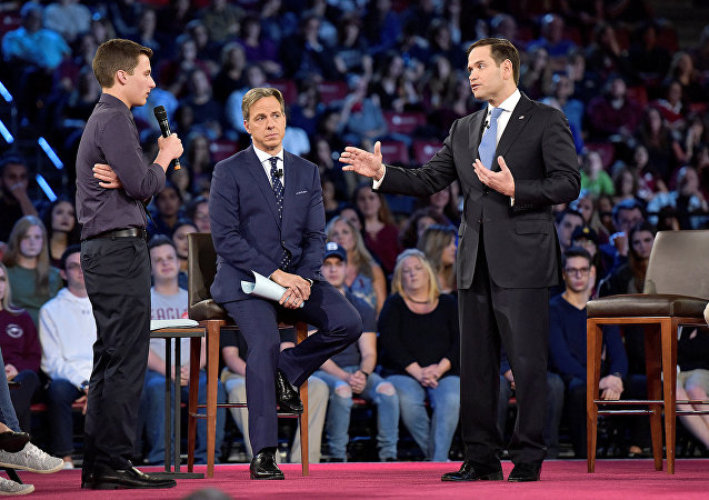 Marjory Stoneman Douglas Lisesi öğrencisi Cameron Kasky  Senatör Marco Rubio CNN halk toplantısı Florida