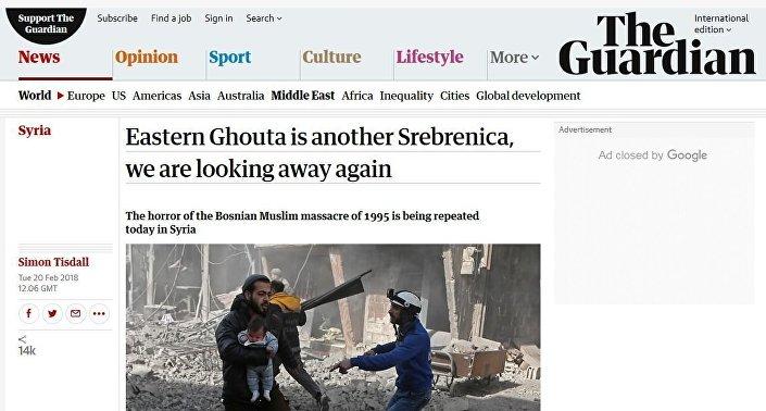 the Guardian gazetesi ise, Rusya ve Suriye'nin barışçıl çözüme yönelik çabalarını ve cihatçıların Doğu Guta'dan başkent Şam'a düzenlediği saldırıları görmezden gelerek, hükümet güçlerini ve Rus birliklerini sivilleri öldürmekle itham etti.