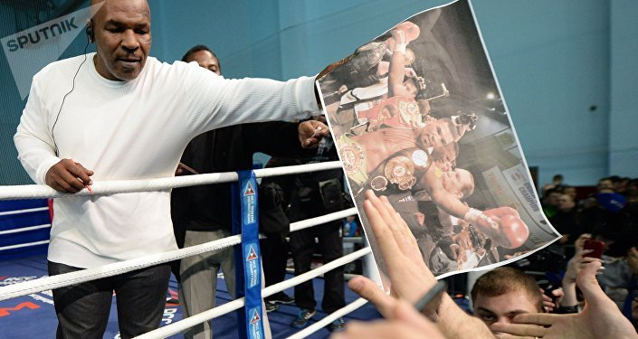 Boxer Mike Tyson during an open boxing master class at the DIVS palace of team sports, Ekaterinburg