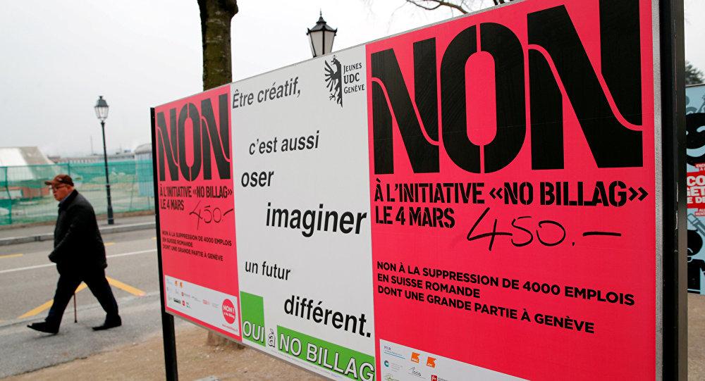 İsviçre'de Radyo ve Televizyon Vergisi'ni tamamen ortadan kaldırmayı amaçlayan 'No Billag' inisiyatifi afişi