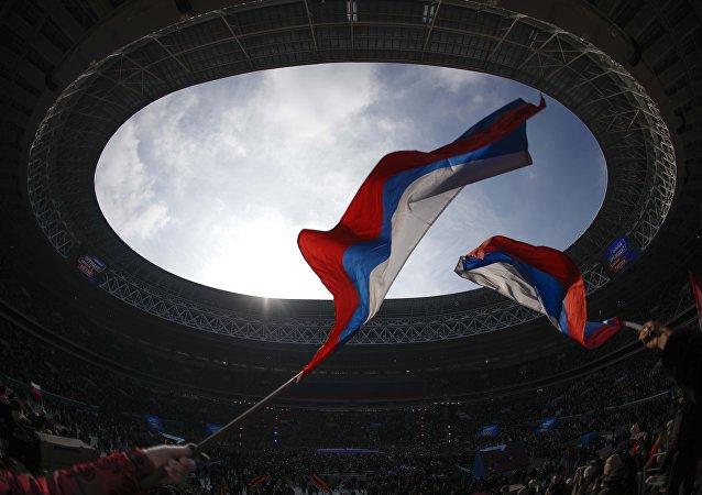 Putin miting Lujniki stadyumu Moskova