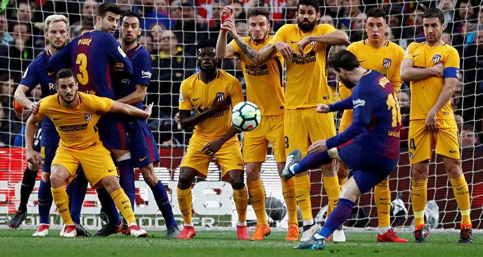 La Liga Santander, FC Barcelona vs Atletico Madrid, Camp Nou, Barselona, 4 Mart 2018, Lionel Messi frikik golü