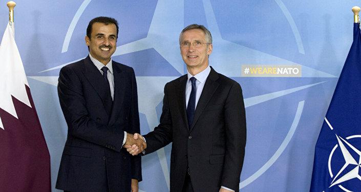 Katar Emiri Şeyh Temim bin Hamad El Sani ile NATO Genel Sekreteri Jens Stoltenberg