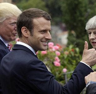 Emmanuel Macron, Donald Trump, Theresa May, Taormina, İtalya, G7 zirvesi, 26 Mayıs 2017