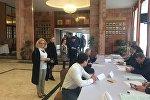 Ankara'daki Rusya vatandaşları devlet başkanlığı seçimleri için sandık başında