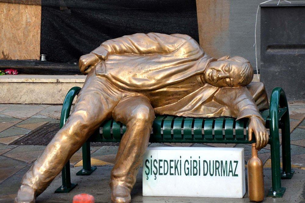 Eskişehir'de bir sarhoş adam: Şişede durduğu gibi durmaz