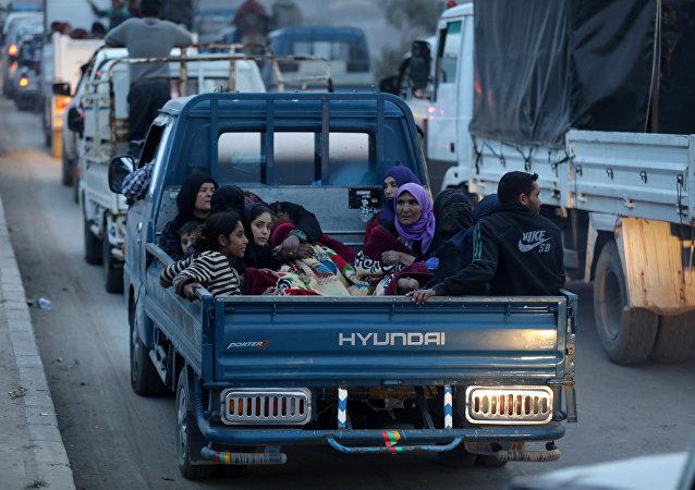 Afrin'den göç etmek zorunda kalan siviller