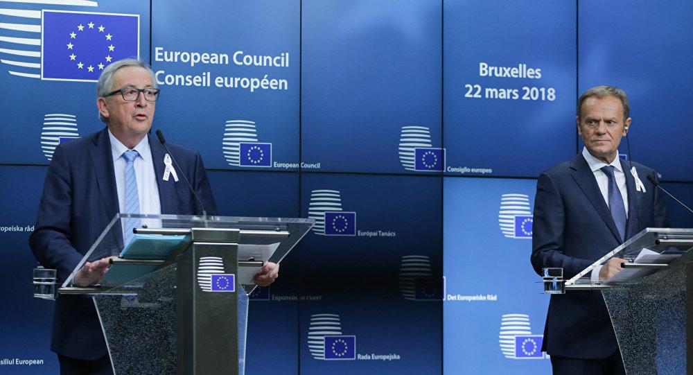 23 Mart 2018, Brüksel, AB zirvesi, Avrupa Komisyonu Başkanı Jean-Claude Juncker, AB Konseyi Başkanı Donald Tusk