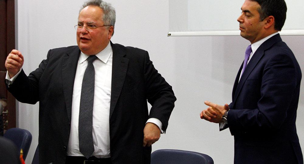 Yunanistan Dışişleri Bakanı Nikos Kocias ve Makedonya Dışişleri Bakanı Nikola Dimitrov