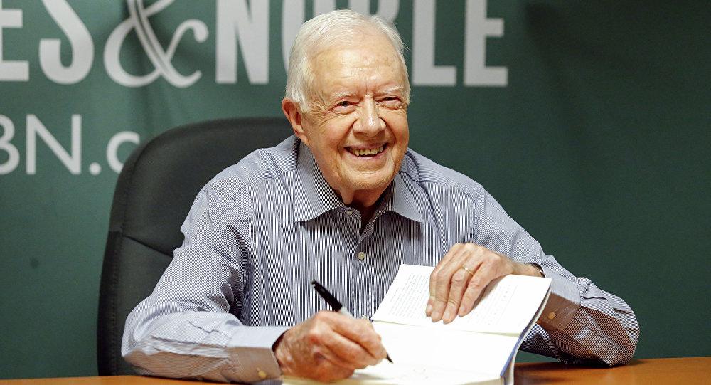 Nobel Barış Ödüllü eski ABD Başkanı Jimmy Carter imza gününde