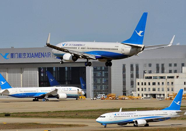 Çin, Fujian eyaleti, Fuzhou Havaalanı, Xiamen Havayolları, Boeing 737-800 uçağı