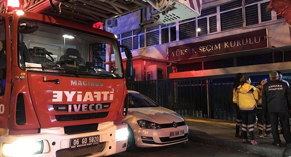 YSK'da yangın çıktı