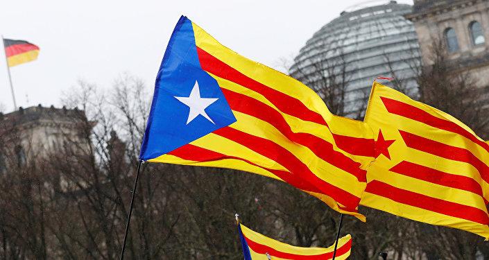 Berlin'de Alman meclisi önünde Puigdemont'un bırakılması için Katalan gösterisi