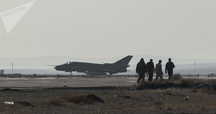 A Su-22 fighter jet at the Syrian Air Force base in Homs province