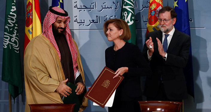 Suudi Arabistan Velihat Prensi Muhammed Bin Selman ile İspanya Savunma Bakanı Maria Dolores Cospedal ve Başbakan Mariano Rajoy