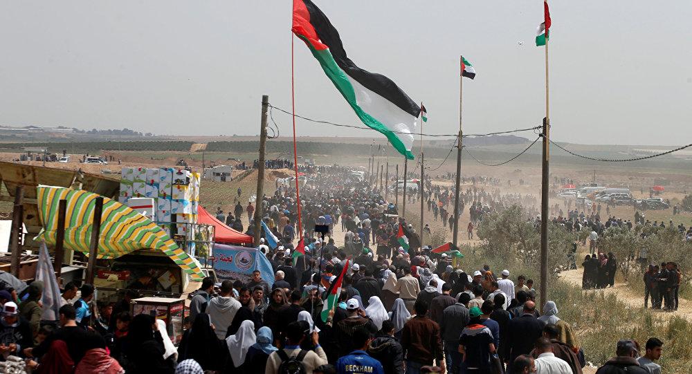 Gazze-İsrail sınırı- Büyük Geri Dönüş Yürüyüşü