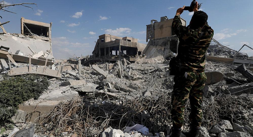 Başkent Şam'da vurulan Bilimsel Araştırma Tesisi