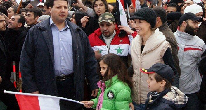 Suriye Devlet Başkanı Beşar Esad'ın eşi Esma Esad ile çocukları Kerim ve Zeyn