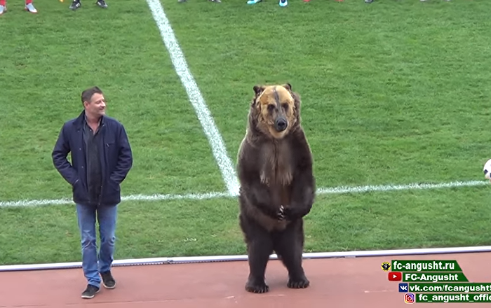 Rusya'da futbol maçını ayı başlattı