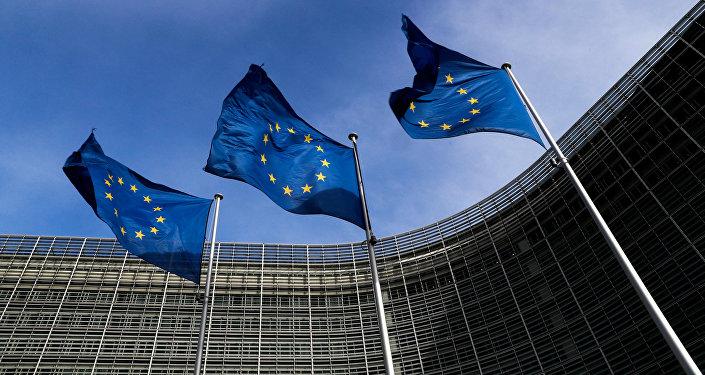 Brüksel, Avrupa Komisyonu merkezi, AB bayrakları
