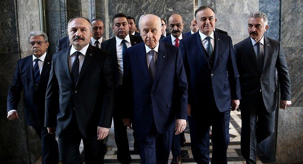 MHP Genel Başkanı Devlet Bahçeli ve kurmayları.