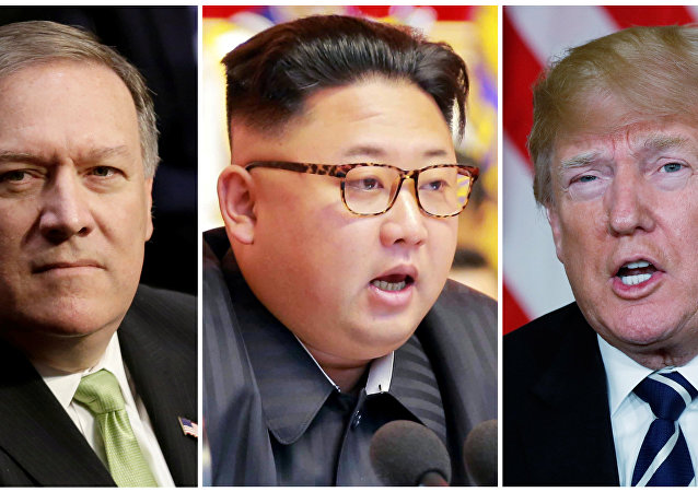 CIA Direktörü Mike Pompeo- Kuzey Kore lideri Kim Jong-un- ABD Başkanı Donald Trump